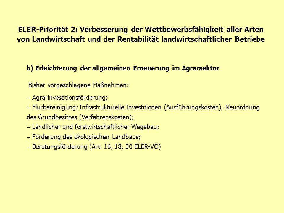ELER-Priorität 2: Verbesserung der Wettbewerbsfähigkeit aller Arten von Landwirtschaft und der Rentabilität landwirtschaftlicher Betriebe b) Erleichterung der allgem.