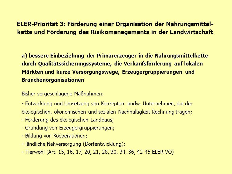 ELER-Priorität 3: Förderung einer Organisation der Nahrungsmittel- kette und Förderung des Risikomanagements in der Landwirtschaft a) bessere Einbezie