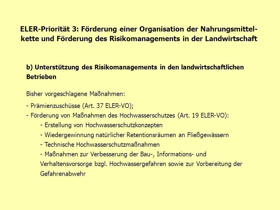ELER-Priorität 3: Förderung einer Organisation der Nahrungsmittel- kette und Förderung des Risikomanagements in der Landwirtschaft b) Unterstützung de