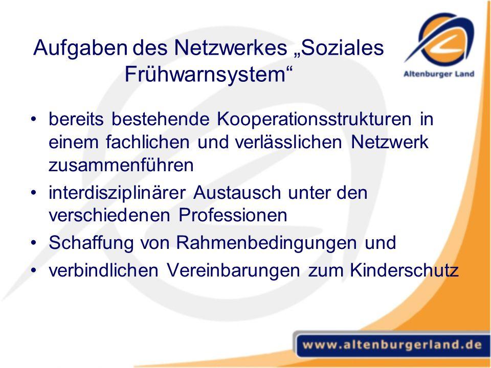 Aufgaben des Netzwerkes Soziales Frühwarnsystem bereits bestehende Kooperationsstrukturen in einem fachlichen und verlässlichen Netzwerk zusammenführe