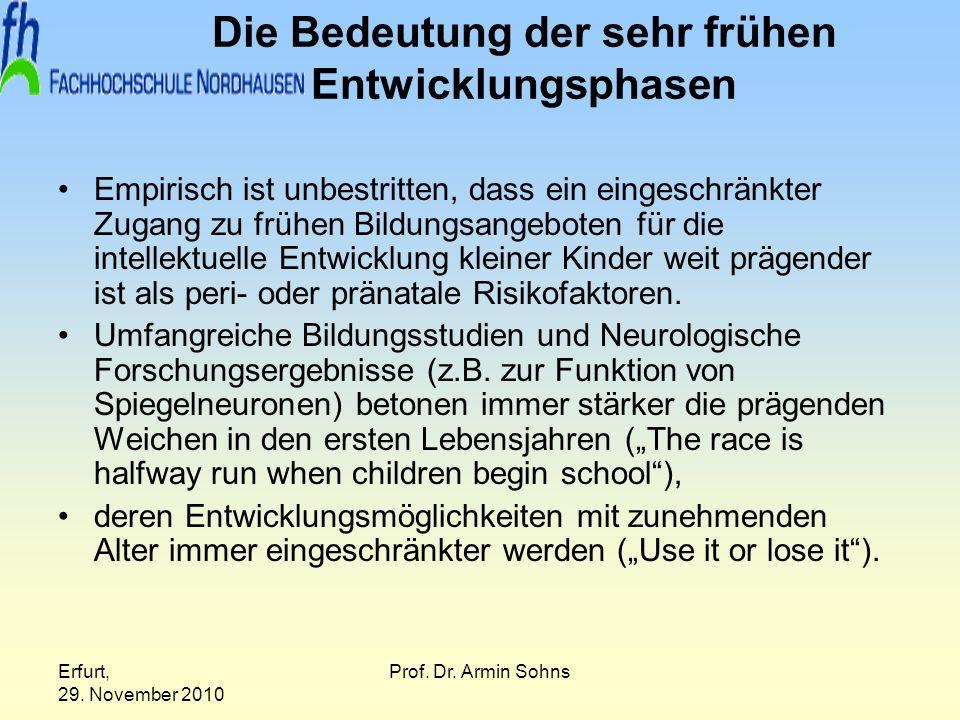 Erfurt, 29. November 2010 Prof. Dr. Armin Sohns Die Bedeutung der sehr frühen Entwicklungsphasen Empirisch ist unbestritten, dass ein eingeschränkter