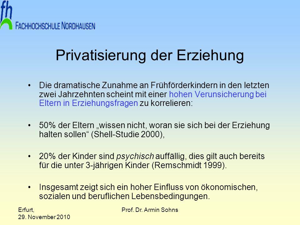 Erfurt, 29. November 2010 Prof. Dr. Armin Sohns Privatisierung der Erziehung Die dramatische Zunahme an Frühförderkindern in den letzten zwei Jahrzehn