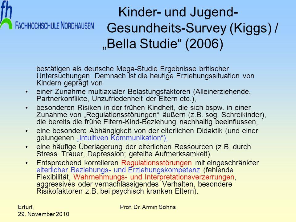 Erfurt, 29. November 2010 Prof. Dr. Armin Sohns Kinder- und Jugend- Gesundheits-Survey (Kiggs) / Bella Studie (2006) bestätigen als deutsche Mega-Stud