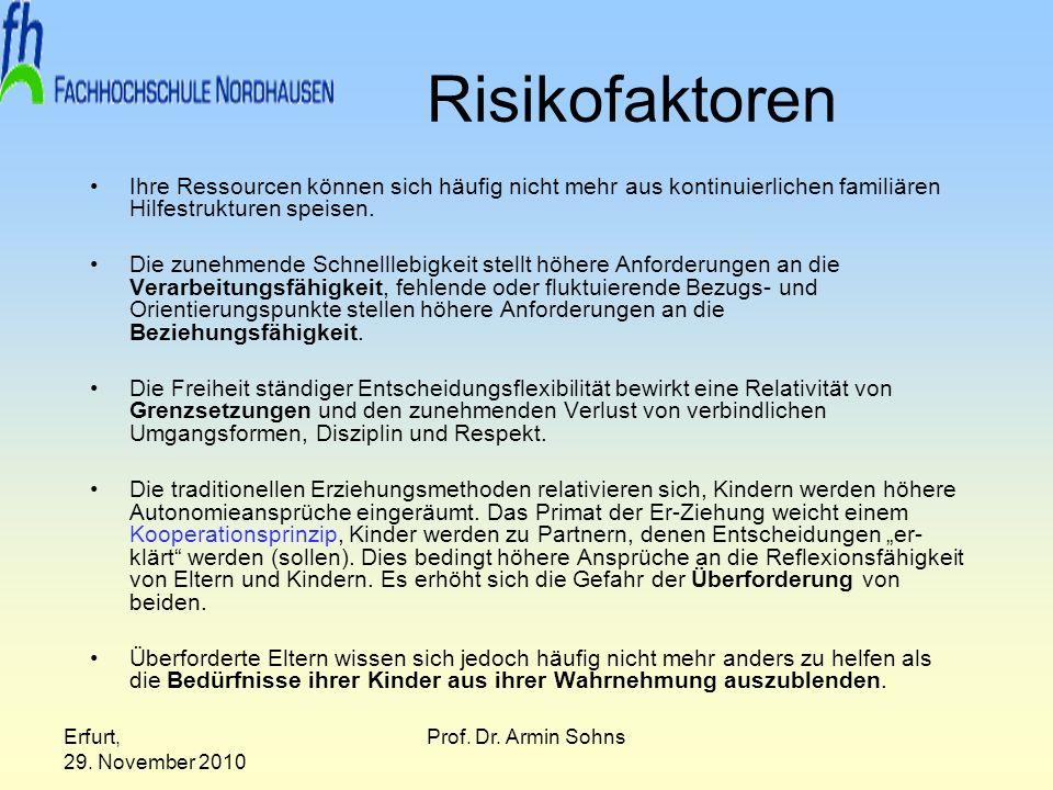 Erfurt, 29. November 2010 Prof. Dr. Armin Sohns Risikofaktoren Ihre Ressourcen können sich häufig nicht mehr aus kontinuierlichen familiären Hilfestru
