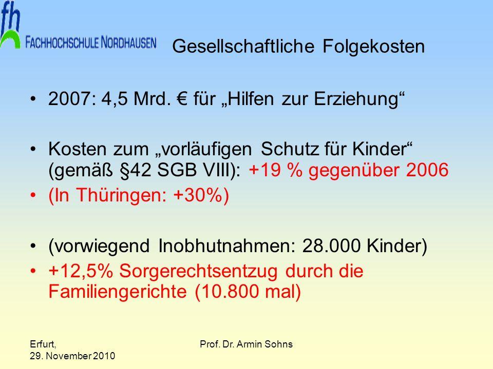 Erfurt, 29. November 2010 Prof. Dr. Armin Sohns Gesellschaftliche Folgekosten 2007: 4,5 Mrd. für Hilfen zur Erziehung Kosten zum vorläufigen Schutz fü