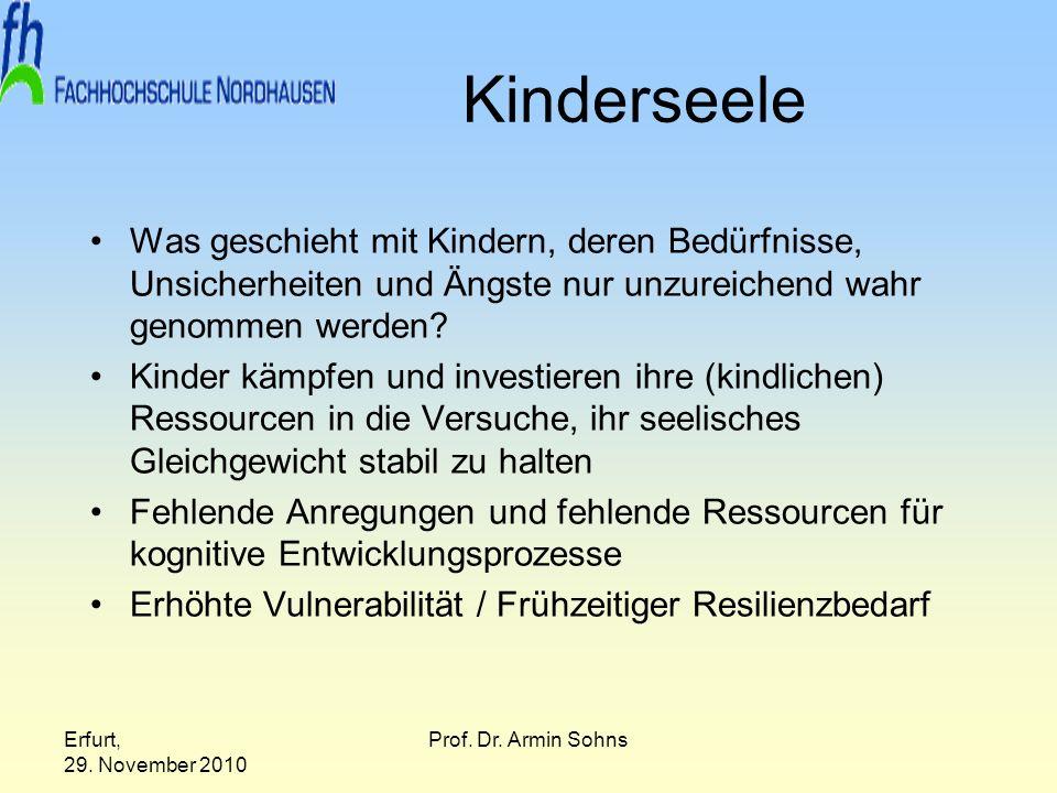 Erfurt, 29. November 2010 Prof. Dr. Armin Sohns Kinderseele Was geschieht mit Kindern, deren Bedürfnisse, Unsicherheiten und Ängste nur unzureichend w