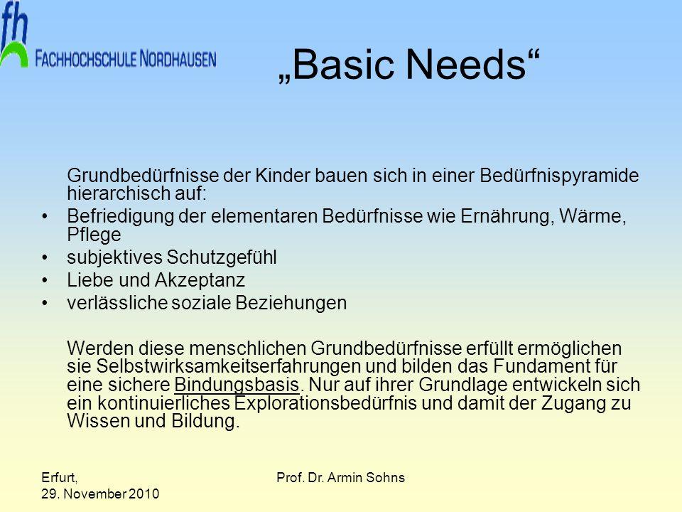 Erfurt, 29. November 2010 Prof. Dr. Armin Sohns Basic Needs Grundbedürfnisse der Kinder bauen sich in einer Bedürfnispyramide hierarchisch auf: Befrie