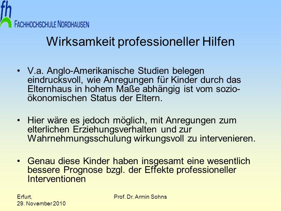 Erfurt, 29. November 2010 Prof. Dr. Armin Sohns Wirksamkeit professioneller Hilfen V.a. Anglo-Amerikanische Studien belegen eindrucksvoll, wie Anregun
