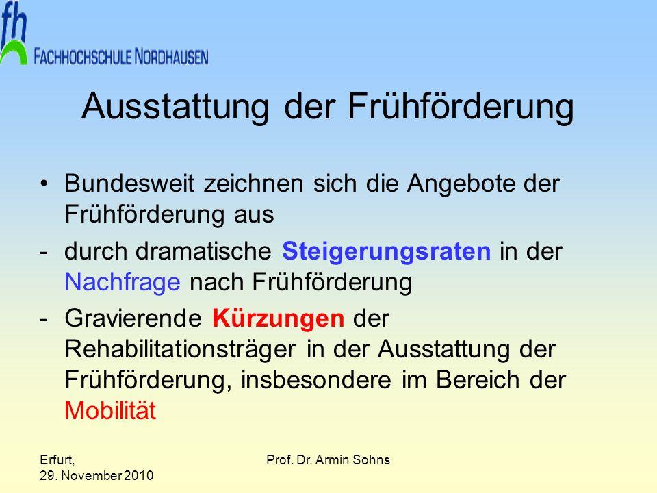 Erfurt, 29. November 2010 Prof. Dr. Armin Sohns Ausstattung der Frühförderung Bundesweit zeichnen sich die Angebote der Frühförderung aus -durch drama