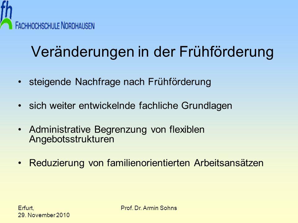 Erfurt, 29. November 2010 Prof. Dr. Armin Sohns Veränderungen in der Frühförderung steigende Nachfrage nach Frühförderung sich weiter entwickelnde fac