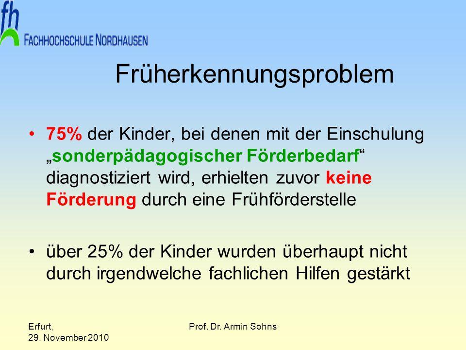 Erfurt, 29. November 2010 Prof. Dr. Armin Sohns Früherkennungsproblem 75% der Kinder, bei denen mit der Einschulungsonderpädagogischer Förderbedarf di