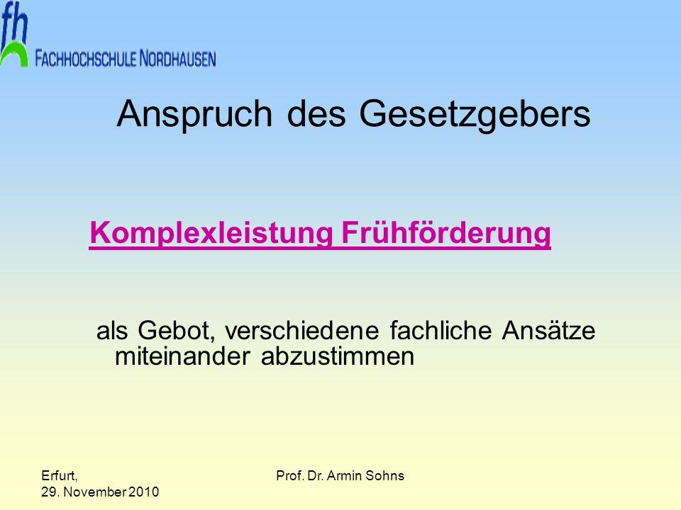 Erfurt, 29. November 2010 Prof. Dr. Armin Sohns Anspruch des Gesetzgebers Komplexleistung Frühförderung als Gebot, verschiedene fachliche Ansätze mite