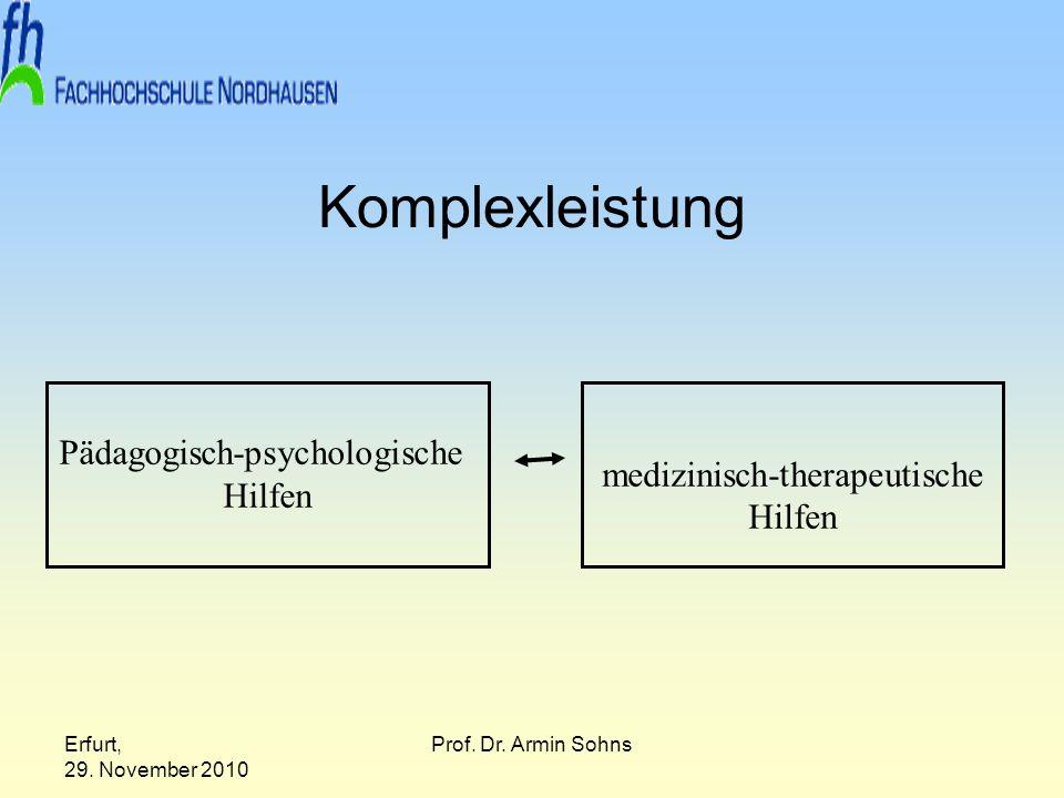 Erfurt, 29. November 2010 Prof. Dr. Armin Sohns Komplexleistung Pädagogisch-psychologische Hilfen medizinisch-therapeutische Hilfen