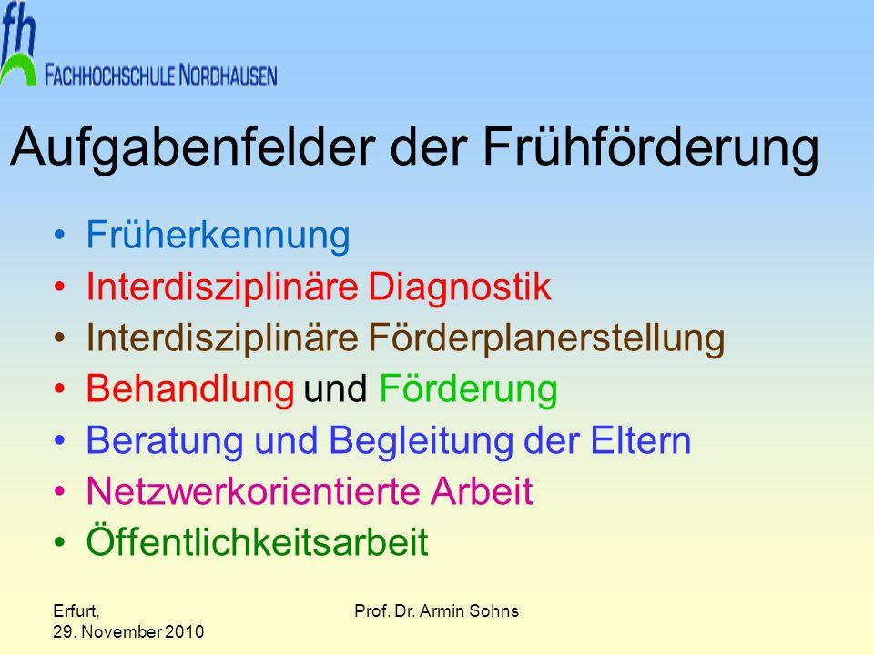 Erfurt, 29. November 2010 Prof. Dr. Armin Sohns Aufgabenfelder der Frühförderung Früherkennung Interdisziplinäre Diagnostik Interdisziplinäre Förderpl