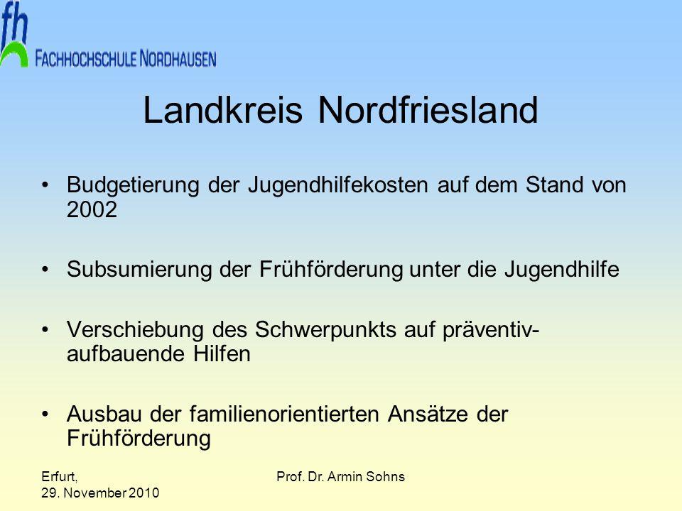 Erfurt, 29. November 2010 Prof. Dr. Armin Sohns Landkreis Nordfriesland Budgetierung der Jugendhilfekosten auf dem Stand von 2002 Subsumierung der Frü