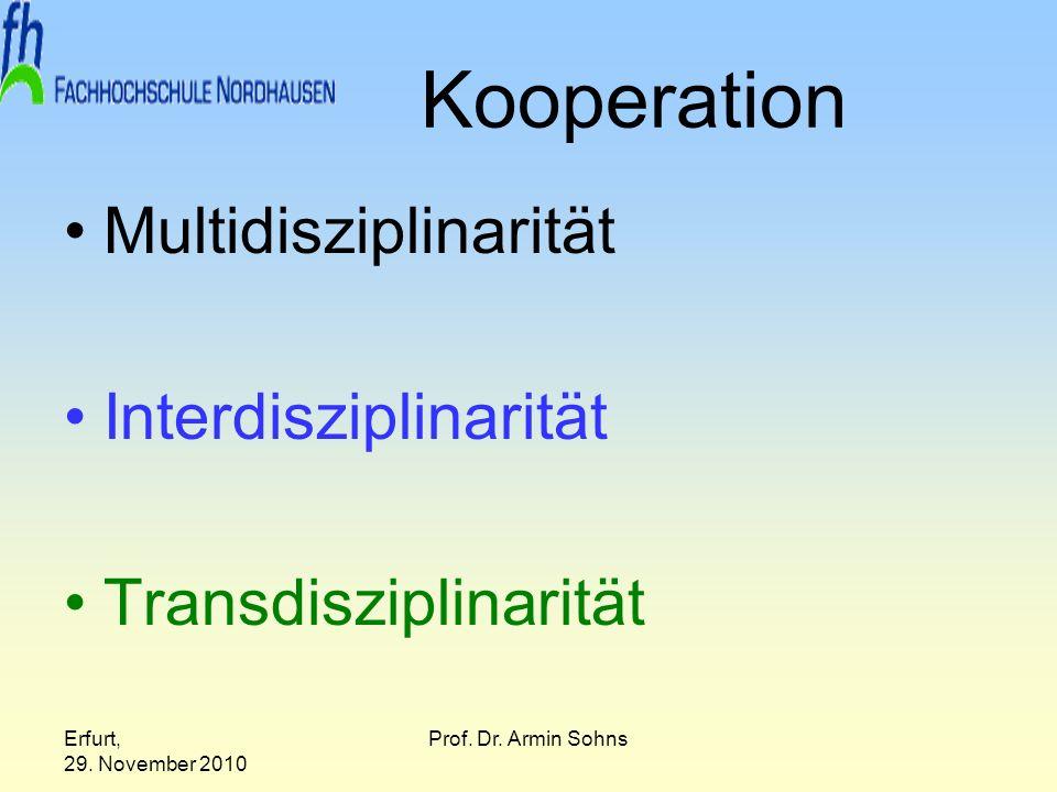 Erfurt, 29. November 2010 Prof. Dr. Armin Sohns Kooperation Multidisziplinarität Interdisziplinarität Transdisziplinarität