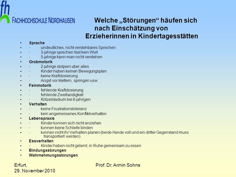 Erfurt, 29. November 2010 Prof. Dr. Armin Sohns Welche Störungen häufen sich nach Einschätzung von Erzieherinnen in Kindertagesstätten Sprache · undeu
