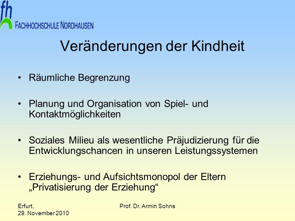 Erfurt, 29. November 2010 Prof. Dr. Armin Sohns Veränderungen der Kindheit Räumliche Begrenzung Planung und Organisation von Spiel- und Kontaktmöglich