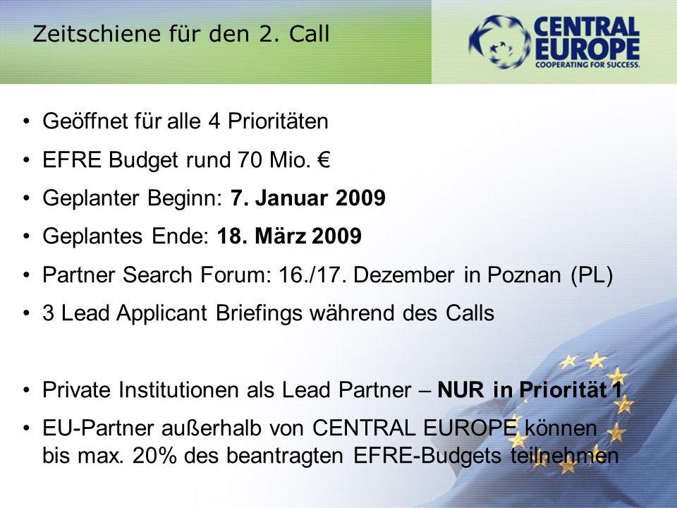 Zeitschiene für den 2. Call Geöffnet für alle 4 Prioritäten EFRE Budget rund 70 Mio. Geplanter Beginn: 7. Januar 2009 Geplantes Ende: 18. März 2009 Pa
