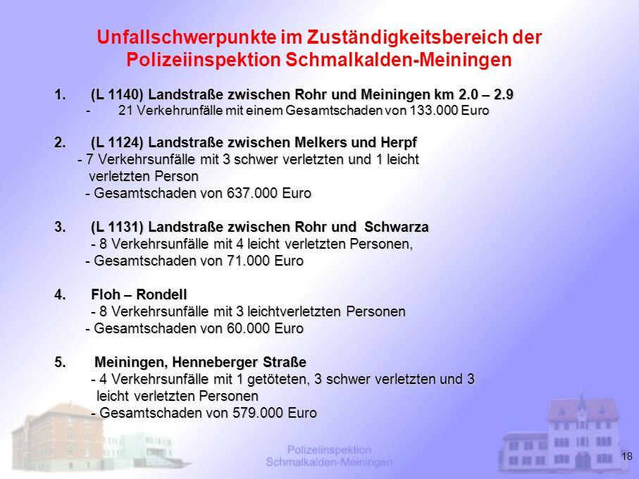 18 Unfallschwerpunkte im Zuständigkeitsbereich der Polizeiinspektion Schmalkalden-Meiningen 1.(L 1140) Landstraße zwischen Rohr und Meiningen km 2.0 –