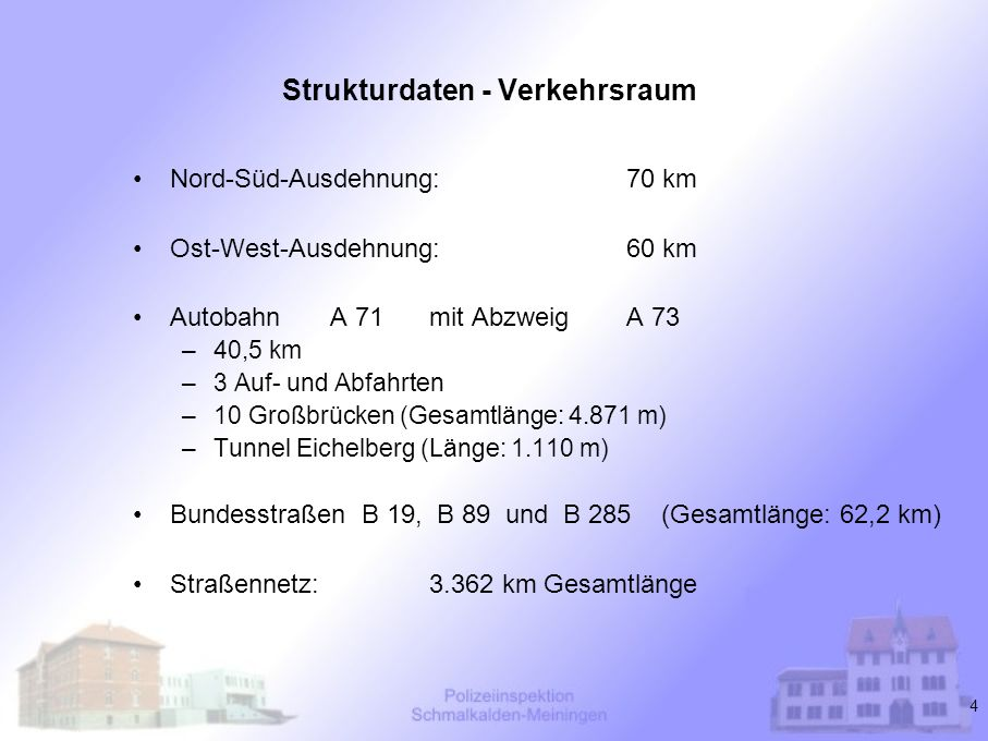 4 Strukturdaten - Verkehrsraum Nord-Süd-Ausdehnung:70 km Ost-West-Ausdehnung:60 km Autobahn A 71 mit Abzweig A 73 –40,5 km –3 Auf- und Abfahrten –10 G