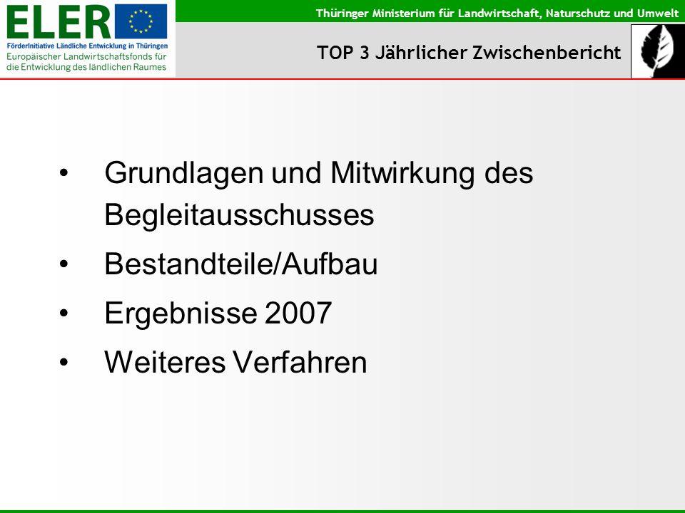 Thüringer Ministerium für Landwirtschaft, Naturschutz und Umwelt TOP 3 Jährlicher Zwischenbericht Grundlagen: VO (EG) Nr.