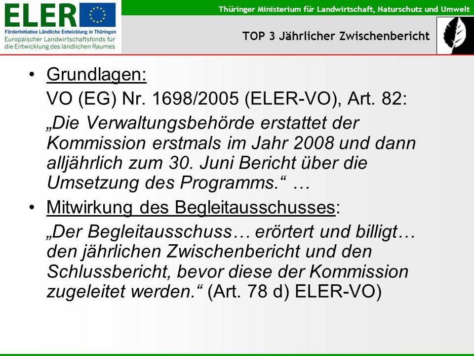 Thüringer Ministerium für Landwirtschaft, Naturschutz und Umwelt TOP 3 Jährlicher Zwischenbericht Grundlagen: VO (EG) Nr. 1698/2005 (ELER-VO), Art. 82