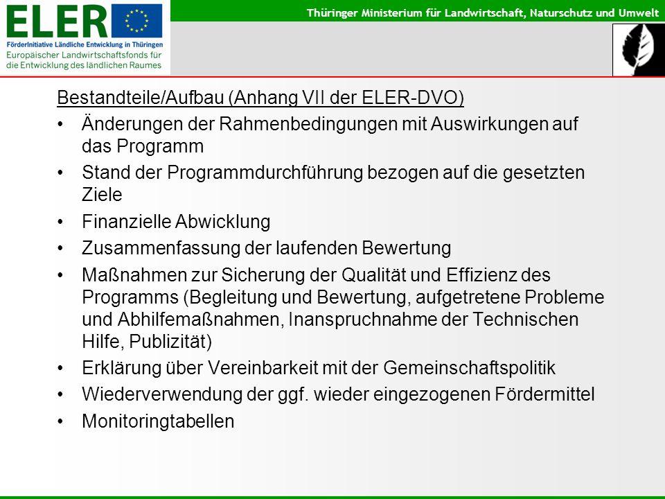 Thüringer Ministerium für Landwirtschaft, Naturschutz und Umwelt Bestandteile/Aufbau (Anhang VII der ELER-DVO) Änderungen der Rahmenbedingungen mit Au