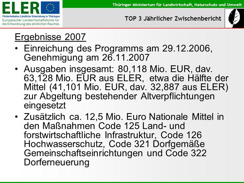 Thüringer Ministerium für Landwirtschaft, Naturschutz und Umwelt TOP 3 Jährlicher Zwischenbericht Ergebnisse 2007 Einreichung des Programms am 29.12.2