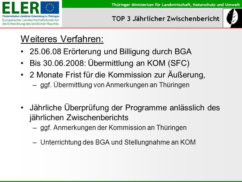 Thüringer Ministerium für Landwirtschaft, Naturschutz und Umwelt TOP 3 Jährlicher Zwischenbericht Weiteres Verfahren: 25.06.08 Erörterung und Billigun
