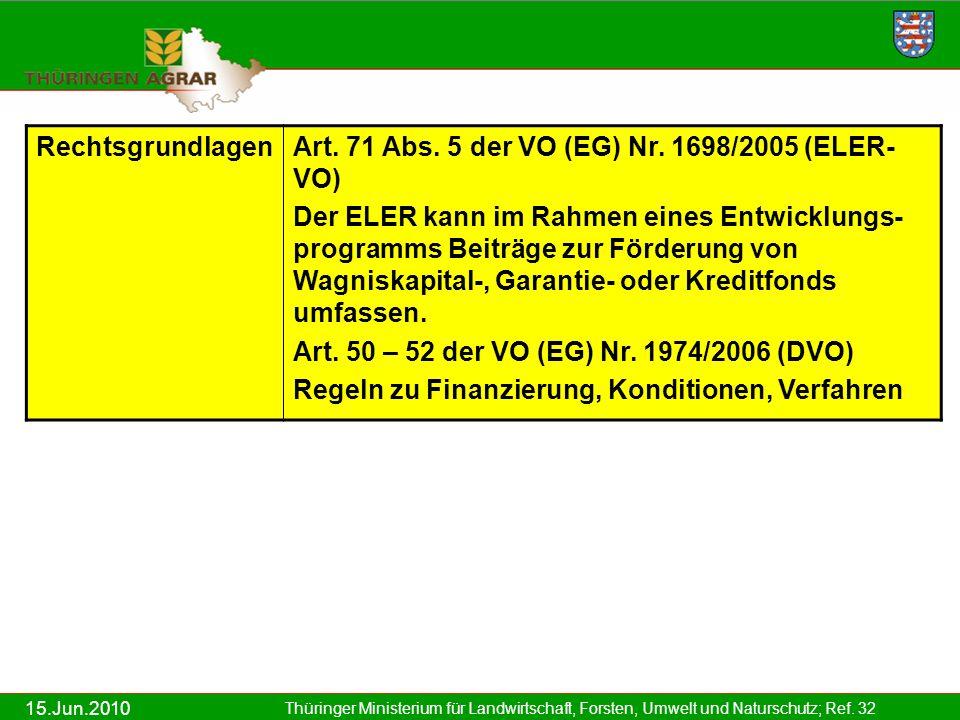 15.Jun.2010 Thüringer Ministerium für Landwirtschaft, Forsten, Umwelt und Naturschutz; Ref. 32 RechtsgrundlagenArt. 71 Abs. 5 der VO (EG) Nr. 1698/200