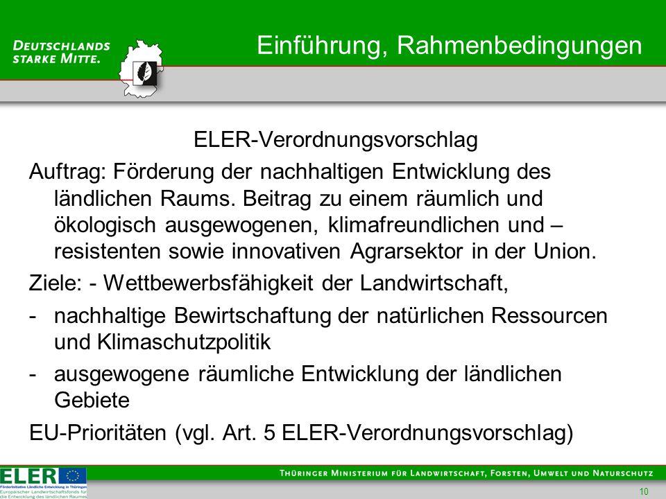 Einführung, Rahmenbedingungen ELER-Verordnungsvorschlag Auftrag: Förderung der nachhaltigen Entwicklung des ländlichen Raums.