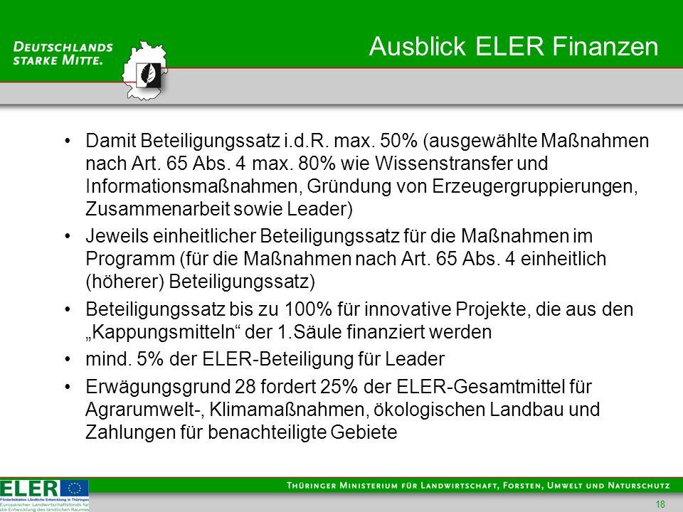 Ausblick ELER Finanzen Damit Beteiligungssatz i.d.R.