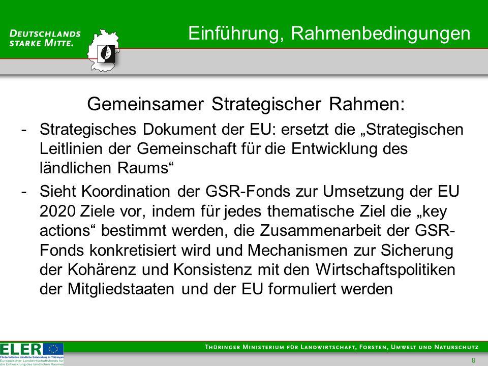 Einführung, Rahmenbedingungen Gemeinsamer Strategischer Rahmen: -Strategisches Dokument der EU: ersetzt die Strategischen Leitlinien der Gemeinschaft für die Entwicklung des ländlichen Raums -Sieht Koordination der GSR-Fonds zur Umsetzung der EU 2020 Ziele vor, indem für jedes thematische Ziel die key actions bestimmt werden, die Zusammenarbeit der GSR- Fonds konkretisiert wird und Mechanismen zur Sicherung der Kohärenz und Konsistenz mit den Wirtschaftspolitiken der Mitgliedstaaten und der EU formuliert werden 8