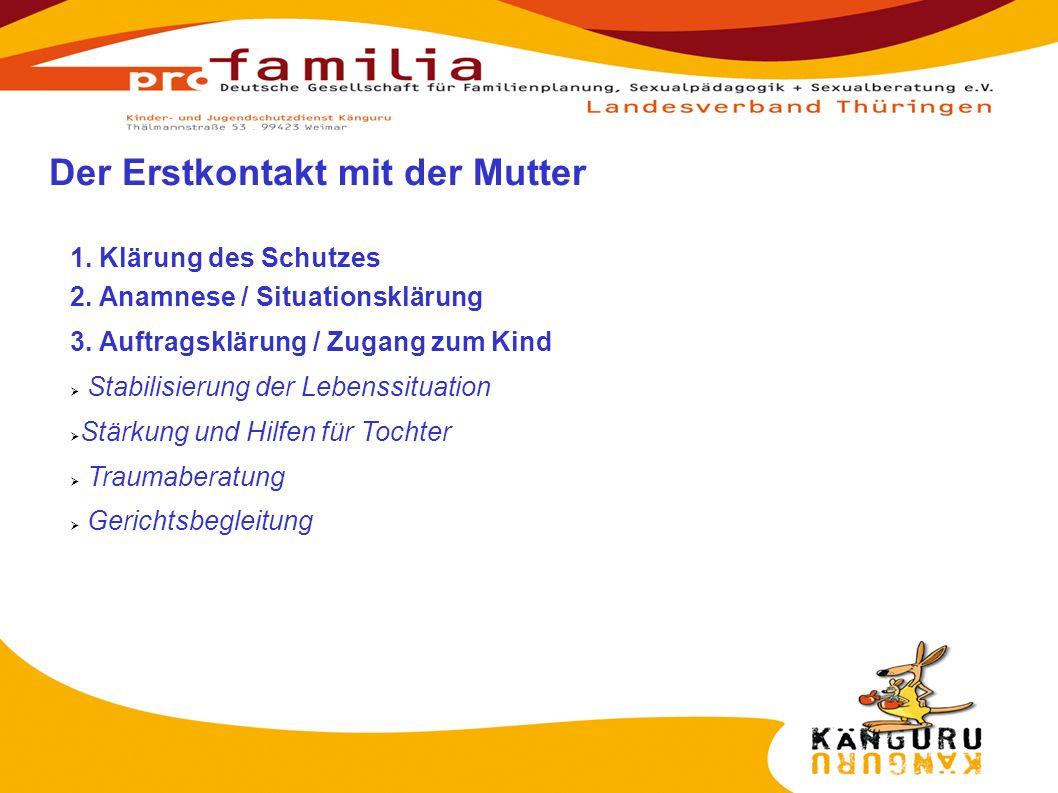1. Klärung des Schutzes 2. Anamnese / Situationsklärung 3. Auftragsklärung / Zugang zum Kind Stabilisierung der Lebenssituation Stärkung und Hilfen fü