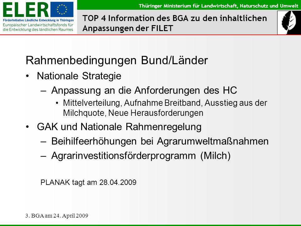 Thüringer Ministerium für Landwirtschaft, Naturschutz und Umwelt 3. BGA am 24. April 2009 TOP 4 Information des BGA zu den inhaltlichen Anpassungen de