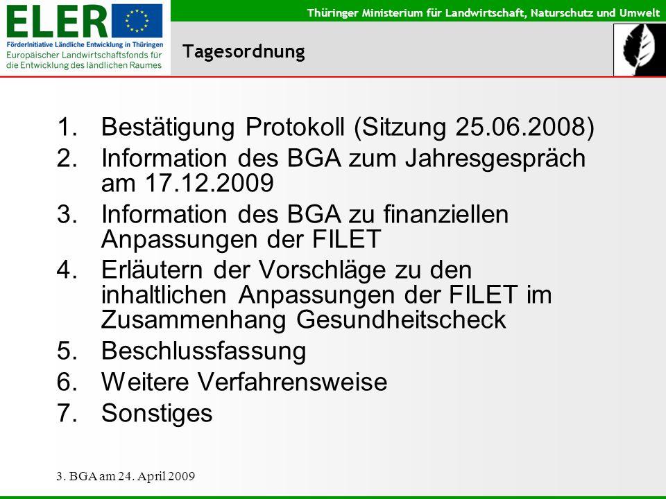 Thüringer Ministerium für Landwirtschaft, Naturschutz und Umwelt 3. BGA am 24. April 2009 Tagesordnung 1.Bestätigung Protokoll (Sitzung 25.06.2008) 2.