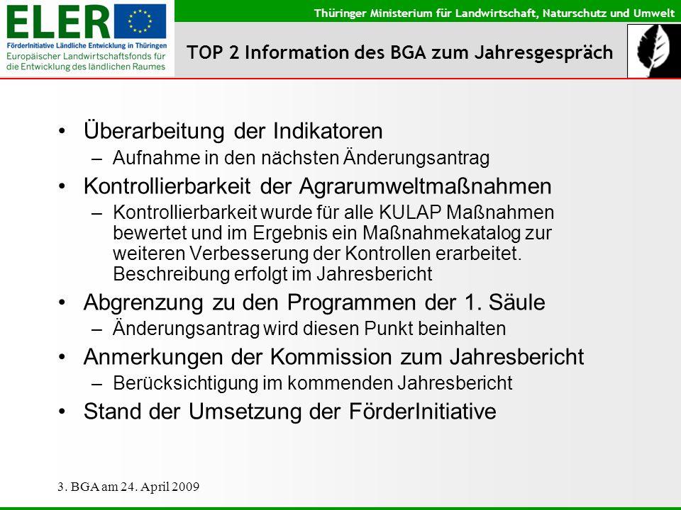 Thüringer Ministerium für Landwirtschaft, Naturschutz und Umwelt 3. BGA am 24. April 2009 TOP 2 Information des BGA zum Jahresgespräch Überarbeitung d