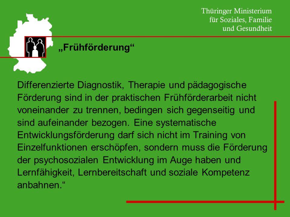 Frühförderung Differenzierte Diagnostik, Therapie und pädagogische Förderung sind in der praktischen Frühförderarbeit nicht voneinander zu trennen, be