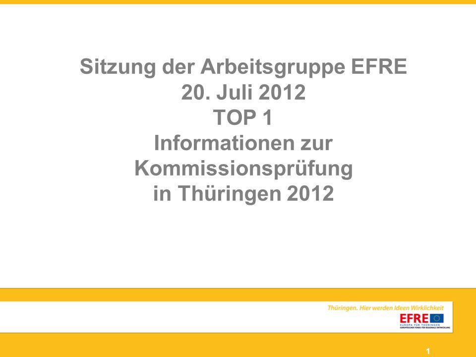 1 Sitzung der Arbeitsgruppe EFRE 20. Juli 2012 TOP 1 Informationen zur Kommissionsprüfung in Thüringen 2012