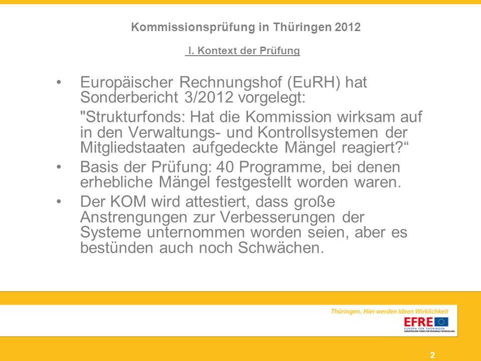 2 Kommissionsprüfung in Thüringen 2012 I. Kontext der Prüfung Europäischer Rechnungshof (EuRH) hat Sonderbericht 3/2012 vorgelegt:
