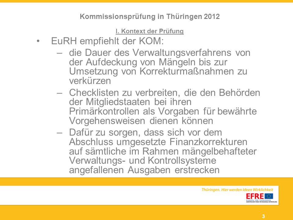 3 I. Kontext der Prüfung EuRH empfiehlt der KOM: –die Dauer des Verwaltungsverfahrens von der Aufdeckung von Mängeln bis zur Umsetzung von Korrekturma