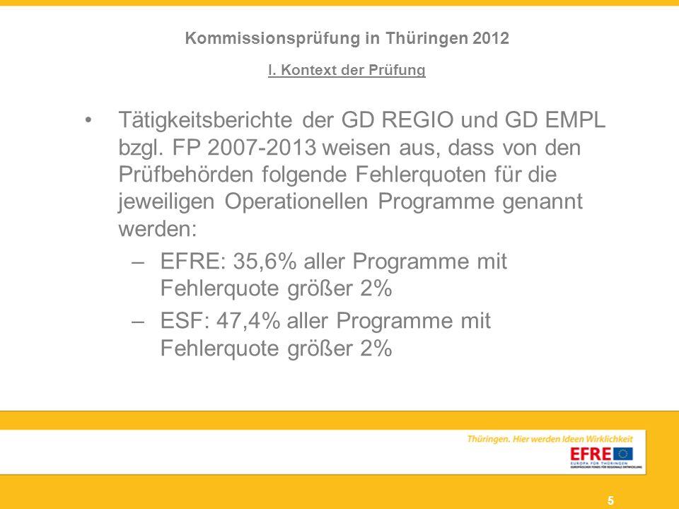 5 I. Kontext der Prüfung Tätigkeitsberichte der GD REGIO und GD EMPL bzgl. FP 2007-2013 weisen aus, dass von den Prüfbehörden folgende Fehlerquoten fü