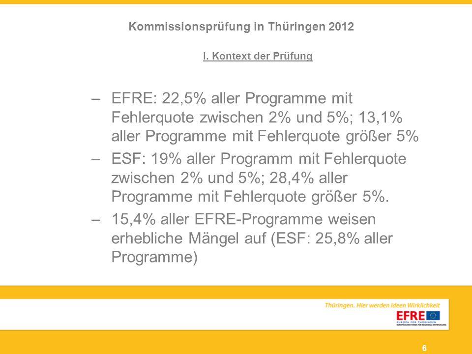 6 I. Kontext der Prüfung –EFRE: 22,5% aller Programme mit Fehlerquote zwischen 2% und 5%; 13,1% aller Programme mit Fehlerquote größer 5% –ESF: 19% al