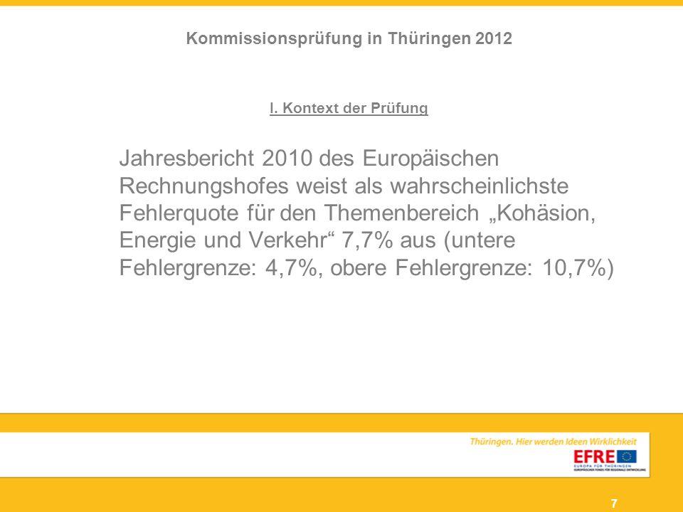 7 I. Kontext der Prüfung Jahresbericht 2010 des Europäischen Rechnungshofes weist als wahrscheinlichste Fehlerquote für den Themenbereich Kohäsion, En