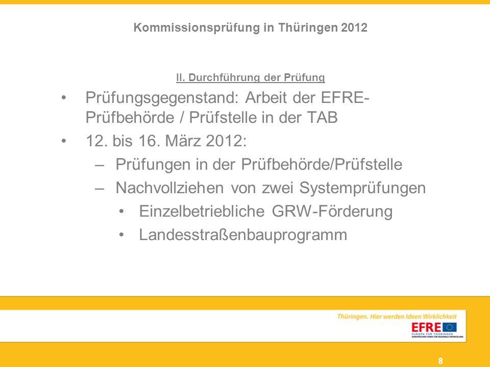8 II. Durchführung der Prüfung Prüfungsgegenstand: Arbeit der EFRE- Prüfbehörde / Prüfstelle in der TAB 12. bis 16. März 2012: –Prüfungen in der Prüfb