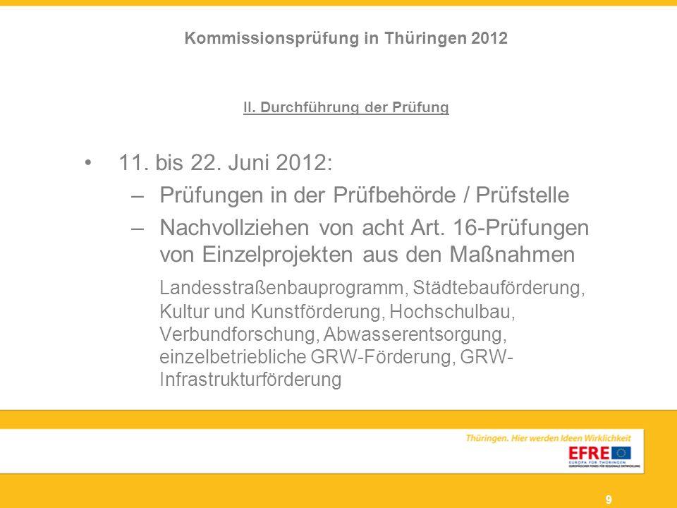 9 II. Durchführung der Prüfung 11. bis 22. Juni 2012: –Prüfungen in der Prüfbehörde / Prüfstelle –Nachvollziehen von acht Art. 16-Prüfungen von Einzel