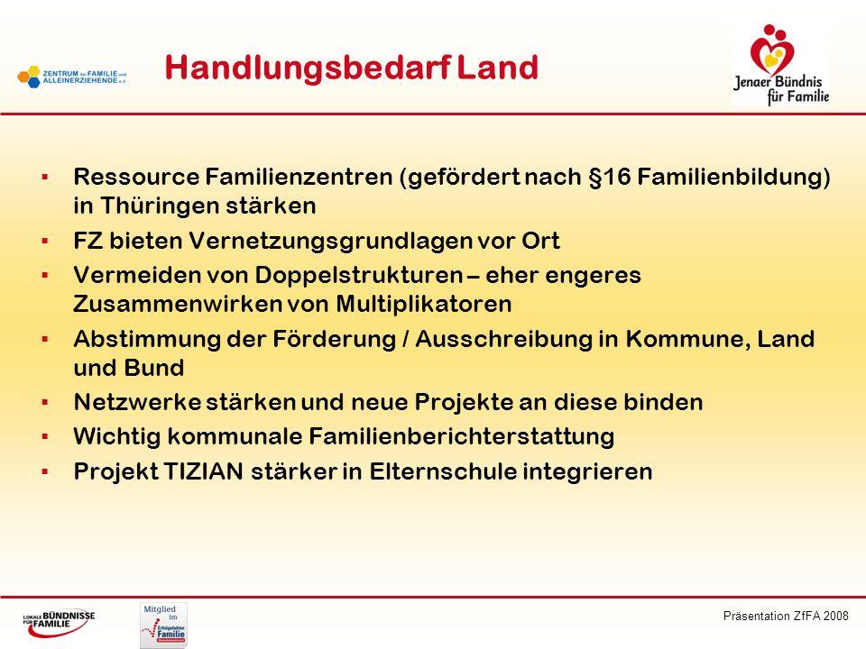 Präsentation ZfFA 2008 Handlungsbedarf Land Ressource Familienzentren (gefördert nach §16 Familienbildung) in Thüringen stärken FZ bieten Vernetzungsg