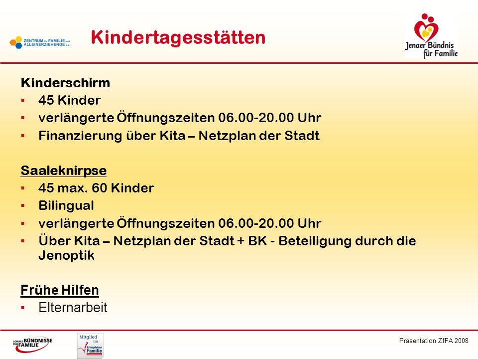 Präsentation ZfFA 2008 Kindertagesstätten Kinderschirm 45 Kinder verlängerte Öffnungszeiten 06.00-20.00 Uhr Finanzierung über Kita – Netzplan der Stad