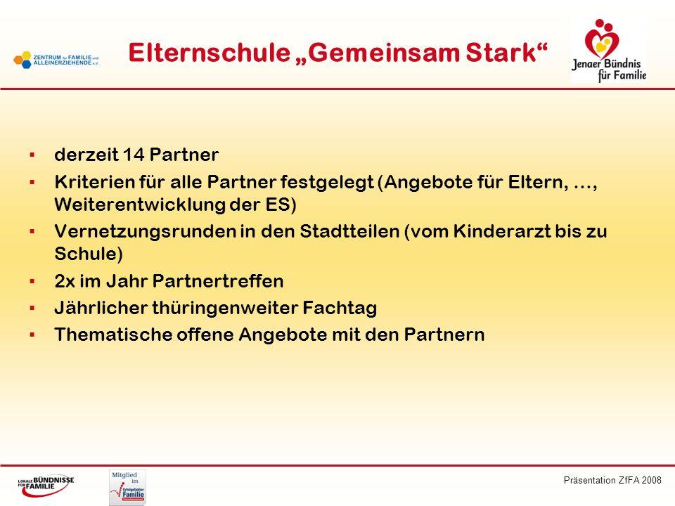 Präsentation ZfFA 2008 Elternschule Gemeinsam Stark derzeit 14 Partner Kriterien für alle Partner festgelegt (Angebote für Eltern, …, Weiterentwicklun